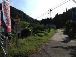 県道側からの道